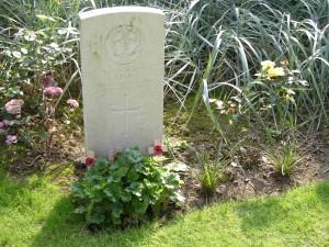 Pte. John Parr's grave at St. Symphorien Military Cemetery, Belgium