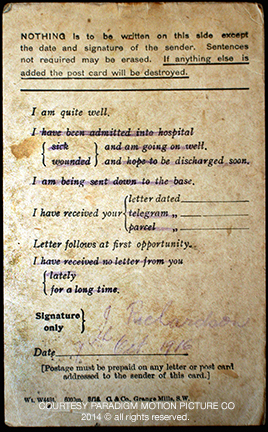 Field Service Postcard written by James Richardson just before the attack on Regina Trench. This is the final document he mailed before he fell earning the Victoria Cross.
