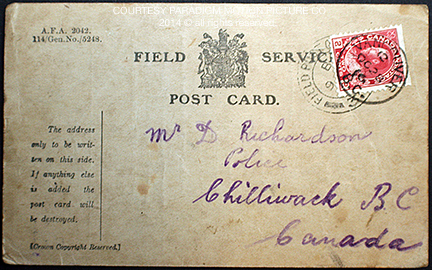 Front of Richardson's final postcard dated October 7, 1916.