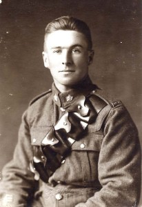 Studio portrait of a soldier. A popular item to send home to loved ones.