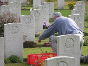 Gardener at Groesbeek Canadian War Cemetery.