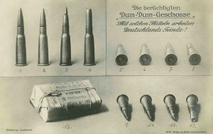 The use of expanding bullets, known as dum dums, provided propaganda discussions from both sides of the frontlines. Although Dum Dums were produced at the British India Dum Dum Arsenal, Calcutta, India.