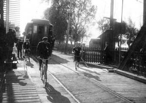 Around the Bay Road Race, Hamilton, Ontario 1912. James Duffy on the Burlington Canal Bridge. (Hamilton Public Library).