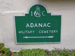 Adanac Military Cemetery sign, Imperial War Graves Commission. P. Ferguson, 2009)
