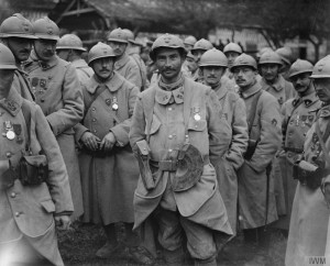 French soldier wearing medals that include the British Medal awarded for Bravery in the Field.