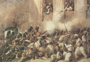 The 93rd Highlanders entering the breech at Secunderabagh, Lucknow, India, 16 November 1857.