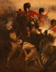 Lieutenant F.E.H. Farquharson's Victoria Cross action at Lucknow, 9 March 1858. By L.W. Desanges (Black Watch Museum)