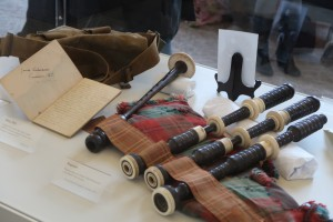 The diary and pipes of James Cleland Richardson VC at the Chilliwack Museum. (P. Ferguson image 2016).