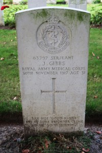 Sergeant J. Gibbs, Royal Army Medical Corps. Minty Farm Cemetery.