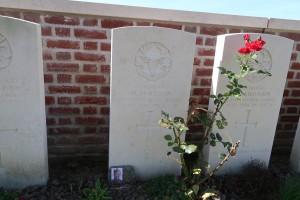 Private Morrison graveside at Seaforth Cemetery Cheddar Villa.