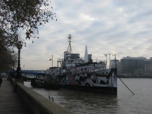 HMS President on the River Thames, dazzle paint scheme, 2014.