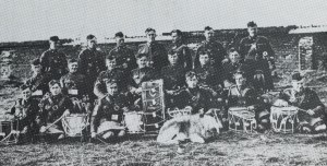 """The Pipes and Drums of the 25th Canadian Infantry Battalion with their mascot """"Robert the Bruce"""". (From The Twenty-Fifth Battalin, F.B. MacDonald & J.J. Gardiner, City Printer, 1983, page 63a)"""