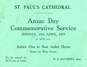ANZAC Day Commemorative Service ticket.