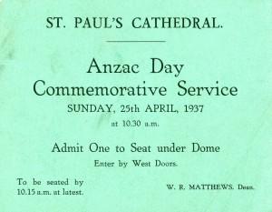 ANZAC Day Commemorative Service ticket.