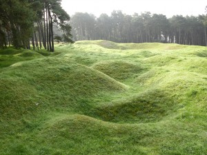 The undulating ground at Vimy Ridge, France. (P. Ferguson image 2013).