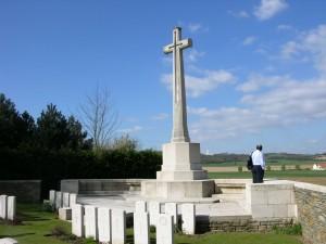 The Vimy Ridge Memorial from La Chaudiere Military Cemetery, Vimy, France. (P. Ferguson image, 2007).