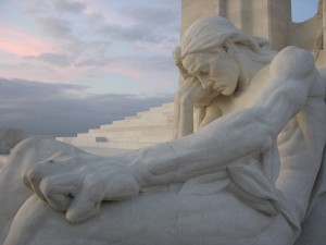 Mourning figure at Vimy RIdge.