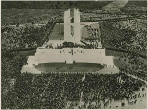 Pilgrims on the Vimy Memorial, 1936.