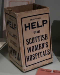 Scottish Women's Hospitals donation box, Imperial War Museum,, London. (P. Ferguson image, March 2017)