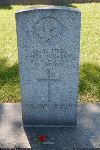 Piper James Moir Low, 16th Battalion C.E.F., Brookside Cemetery. P. Ferguson image, July 14, 2017)