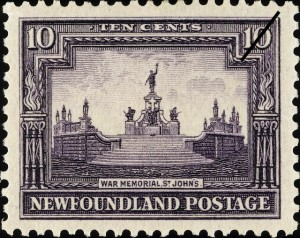 National War Memorial stamp issued by Newfoundland, 3 January 1928.