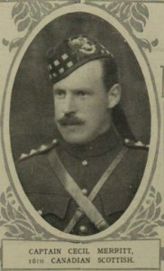 Captain Cecil Mack Merritt in the uniform of the 72nd Regiment (Seaforth Highlanders of Canada).