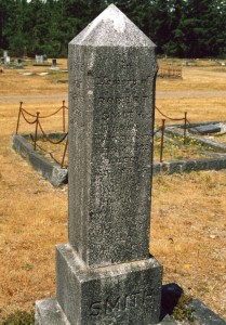 The Smith Family marker, when names were readable. (P. Ferguson image, June 2004)