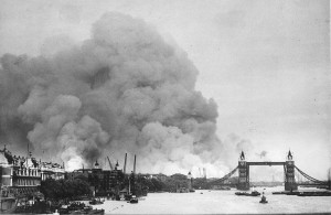 The London Docks on fire, 7 September 1940. (Wiki image)