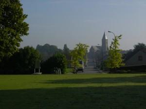 Looking from the Passchendaele Memorial towards Zonnebeke. (P. Ferguson image, September 2013)