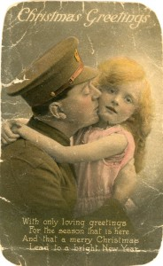 "A Great War Christmas postcard...""a lucky man that gets to kiss your face."""