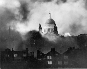 The famed image of St. Paul's Cathedral taken photographer Herbert Mason was taken 77 years ago, 29 December 1940. (Wiki image via the Imperial War Museum and the Daily Mail)