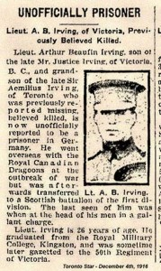 Albert Beaufin Irving, Toronto Star, 4 December 1916 via the Canadian Virtual War Memorial.
