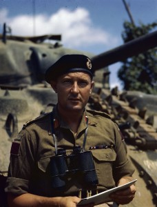 Bertram Meryl Hoffmeister DSO wearing the black beret of a Canadian Armoured unit. (Wikipedia).