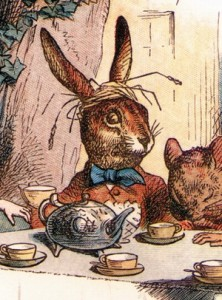 "The March Hare from Lewis Carrol's, ""Alice's Adventures in Wonderland"". Illustration by John Tenniel."