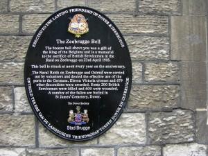 Zeebrugge Bell commemorative plaque, Dover, England. (P. Ferguson image, September 2005)