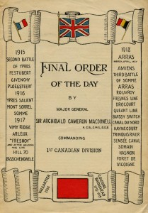 1st Canadian Division Final Order of the Day. 1918.