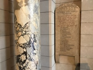 The Great War Memorial to the staff of the Victoria and Albert Museum. (P. Ferguson image, August 2018)