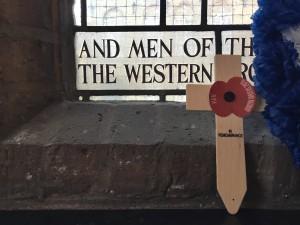 Poppy cross at St. George's Memorial Church, Ieper (Ypres), Belgium. (P. Ferguson image, August 2018)