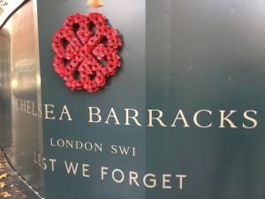 Poppy wreath at Chelsea Barracks.