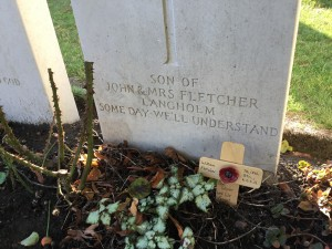 The inscription on Private W. Fletcher's, King's Own Scottish Borderers, grave at Ypres...Some Day We'll Understand. (P. Ferguson image, 9 November 2018)