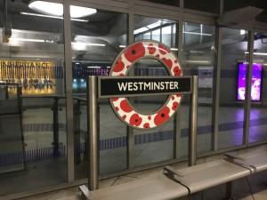 Westminster Station sign, London Underground, England.  (P. Ferguson image, 6 November 2018)