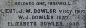 LIEUT. J.W. DOWLER VIMY 1917
