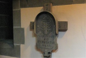 Marker of Captain Frederick Despard Pemberton,  (shown as J.D. Pemberton) Royal Flying Corps at Christ Church Cathedral. (P. Ferguson image, June 2015)