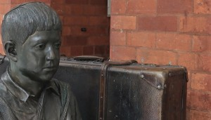 Detail from one of two Kindertransport Memorials, Liverpool Street Station, London (P. Ferguson image, November 2019).