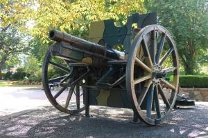 A German field gun, one of two located at Esquimalt Memorial Park. Both guns were captured by the 2nd Canadian Mounted Rifles. (P. Ferguson image, July 2020)