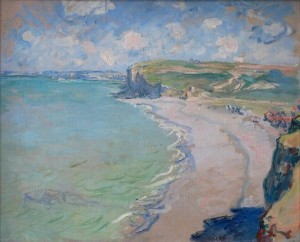 Beach in Pourville. Beyond the coastal high ground and largely out of site, the town of Dieppe. Painted by Claude Monet, 1882. (Wiki Image)