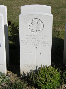 Marker of Lieutenant Colonel Alfred Capel Gostling. We'll Walk Beside You. Mother, Guy and Peg. Dieppe Canadian War Cemetery, (P. Ferguson image, September 2009)