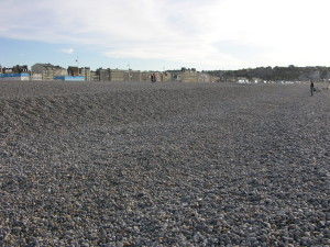 On the water's front-line. The stone beach at Dieppe looking towards the town. (P. Ferguson image, September 2009).