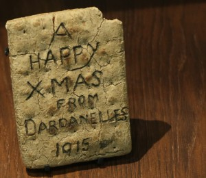 A HAPPY XMAS FROM DARDANELLES 1915 Army biscuit, Imperial War Museum, London. (P. Ferguson image, September 2017)