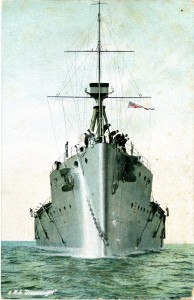 The bow of HMS Dreadnought.